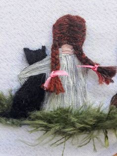 Picture Girl with black cat Cherry blossoms Hand embroidery wall art painting ribbon embroidery Embroidered painting Decor for girl Gift Embroidery Flowers Pattern, Hand Embroidery Stitches, Silk Ribbon Embroidery, Embroidery Hoop Art, Hand Embroidery Designs, Cross Stitch Embroidery, Cherry Blossoms, Etsy, Free Images