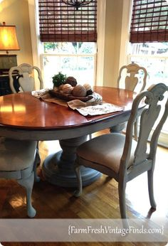 DIY Home Ideas   Painted Furniture   Check out how this round pedestal dining table got a makeover with Annie Sloan chalk paint!