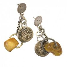 Amber And Pyu Coins earrings