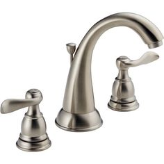 Zoomed: Delta Traditional Brushed Nickel 2-Handle WaterSense Bathroom Sink Faucet (Drain Included)