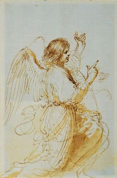 Guercino, Angel of Annunciation.  Royal Collection Trust, Windsor.
