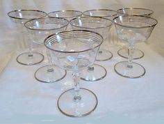 8  Vintage Silver Rimmed  Martini  Glasses  Mad by trixzstreasures, $70.00