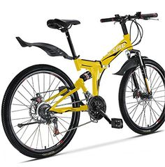"Xspec 26"" 21 Speed Folding Mountain Bike Bicycle Trail Commuter Shimano Yellow - http://mountain-bike-review.net/products-recommended-accessories/xspec-26-21-speed-folding-mountain-bike-bicycle-trail-commuter-shimano-yellow/ #mountainbike #mountain biking"