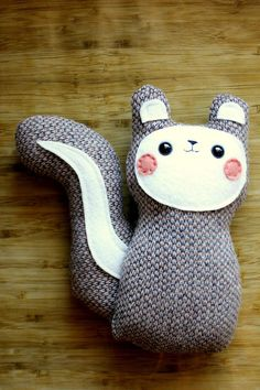 Bon Bon - The Blushing Woodland Squirrel Plush -  by sleepyking. $28.00