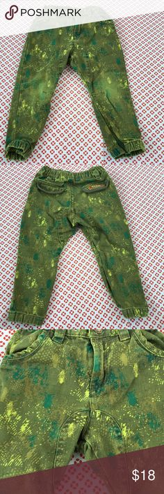 Kids' Beetle print denim pants, skinny fit Unique pants, bought in Italy, sturdy denim material, wear around knee area, no holes, adjustable elastic waist band, two front pockets, snap button and zipper to open. This is super cute, can't find it in any US store. DP...am Bottoms Casual