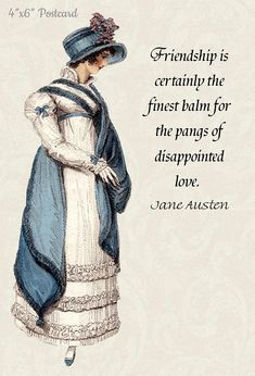 This beautiful Jane Austen inspired postcard is the newest addition to the Pretty Girl Postcards repertoire. This quote is from Jane Austen's novel Northanger Abbey. Many m... #emma #regency #blue #white