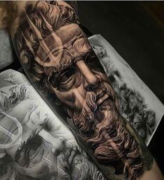 Posseidon Tattoo, Zues Tattoo, God Tattoos, Forarm Tattoos, Forearm Sleeve Tattoos, Best Sleeve Tattoos, Tattoo Sleeve Designs, Big Tattoo, Body Art Tattoos