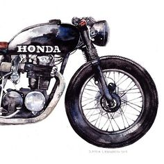 Cb550 watercolor art by @claudia_liebenberg . Very cool. Check her out for more Moto art.