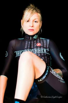 Clothing designer, Lara Kessler, modeling her 2013 Breadwinner Cycles skin suit design. cycling kit by Castelli Cycling