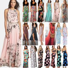 428290bfa1 Women Boho Floral Long Maxi Dress Cocktail Party Evening Summer Beach  Sundress