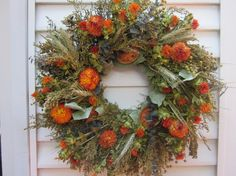 Large Fall Dried Flower Wreath Mixed Flowers in by NotJustWeeds, $50.00