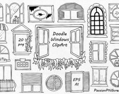 Doodle Drawings, Doodle Art, Window Drawings, Window Clipart, Feather Clip Art, House Doodle, Travel Clipart, Doodle Background, Banner Drawing