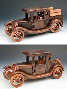 Pickup and Rumbleseat by Baldwin Toy Co. (Wood Sculpture) x A individual amount Wooden Toy Trucks, Wooden Car, Woodworking Toys, Woodworking Projects, Wood Toys Plans, Wood Sculpture, Metal Sculptures, Abstract Sculpture, Diy Décoration
