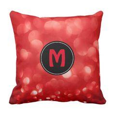 #glitter - #Red Sparkles Glitter Custom Monogramed Black Throw Pillow