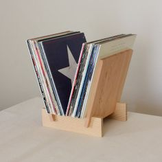 """Adding to the wish list - """"LP Record Stand in Solid Douglas Fir by LLTTgoods on Etsy, $90.00"""""""