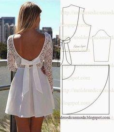 Si eres de aquellas que les encanta realizar su propia ropa este vestido de coctel te encantará, a continuación te dejamos el molde.