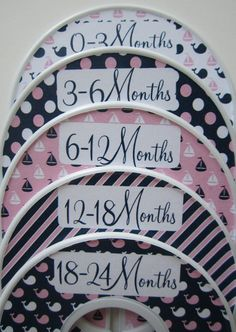 5 Custom Baby Closet Dividers Closet Organizers Baby Girl Nursery Nautical Pink and Navy Assembled