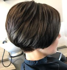 60 Classy Short Haircuts and Hairstyles for Thick Hair - - Short Stacked Brunette Cut With Layers Short Hairstyles For Thick Hair, Haircut For Thick Hair, Short Bob Haircuts, Short Hair Cuts, Curly Hair Styles, Cool Hairstyles, Short Brunette Hairstyles, Short Stacked Hair, Medium Hairstyles
