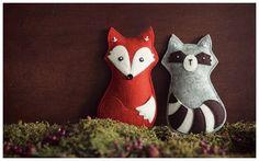 Fuchs und Waschbär aus Filz/ felt fox and racoon - design by Savage Seeds
