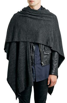 Topman Charcoal Knit Wrap Cape available at #Nordstrom