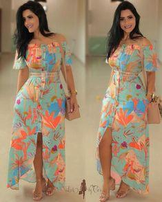 Looks maravilhosos da loja ______________________________________________ Whatsapp ? Lovely Dresses, Elegant Dresses, Casual Dresses, Summer Dresses, African Fashion Dresses, African Dress, Fashion Outfits, Frock Design, Western Dresses