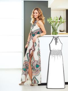 This ultra sultry Maxi-Dress - with such intricate fabric, the style can afford to be plain. Smocked seams skillfully accentuate the narrow waist, while long slits reveal the legs.