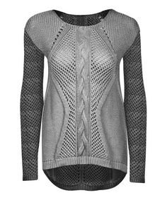 Look what I found on #zulily! Gray & Charcoal Cable-Knit Hi-Low Sweater - Women by Dex #zulilyfinds