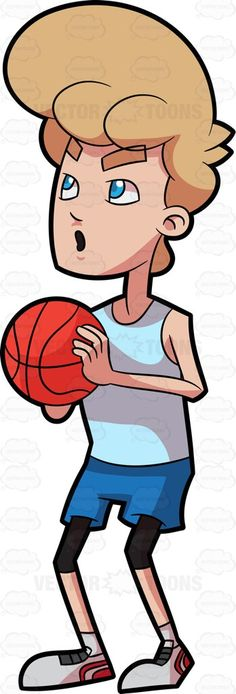 A male basketball player preparing for a free throw #cartoon #clipart #vector #vectortoons #stockimage #stockart #art