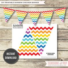 INSTANT DOWNLOAD - Rainbow Chevron Banner  Printable Flag Bunting- for art party, rainbow party, decorations birthday