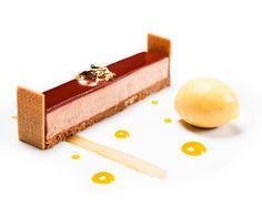 Cheese cake au chocolat sorbet passion citronnelle ©Thierry Caron