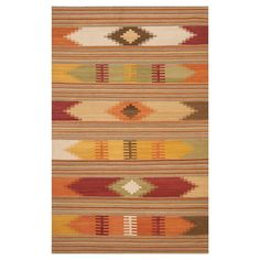 Kilim Rug - Red/Multi-Colored - (