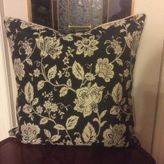 Black and cream chenille custom pillow by custompillowsbyclaire@gmail.com 26 X 26 inches with feather insert