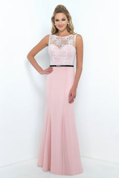 Alexia Designs style 4188: Bella Chiffon bridesmaid dress with lace bodice & black waist belt.