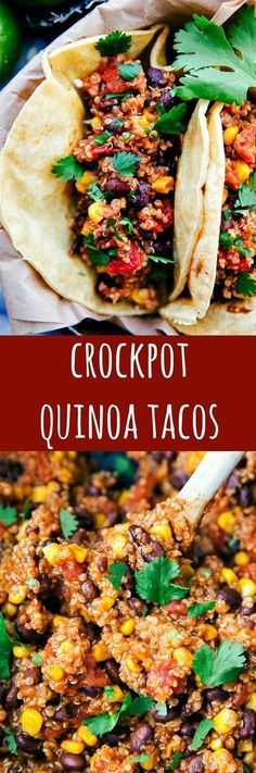 Home Made Doggy Foodstuff FAQ's And Ideas Delicious And Meatless Mexican Quinoa Black Bean Tacos Made Easy In The Slow Cooker. Dump It And Forget About It Meal Freezer Friendly, Gluten-Freesay Hello To Your New Years Healthy Eating Resolutions Done Right. Veggie Recipes, Mexican Food Recipes, Whole Food Recipes, Vegetarian Recipes, Healthy Recipes, Cake Recipes, Tostada Recipes, Dinner Recipes, Bean Recipes