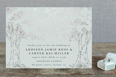 """""""A Poem For The Trees"""" - Rustic, Hand Drawn Foil-pressed Wedding Invitations in Gold by Qing Ji."""
