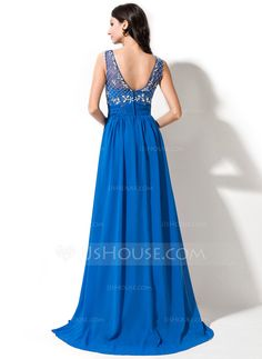 A-Line/Princess Scoop Neck Sweep Train Chiffon Tulle Prom Dress With Beading Sequins Cascading Ruffles (018055007) - JJsHouse