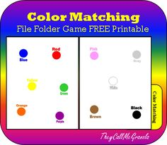 ColorMatching File Folder Game : TheyCallMeGranola : FREE Printable