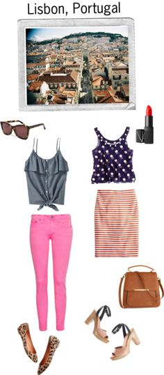 great combos #polkadots #pink #chambray #stripes