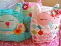 So cute! stuffed owls& kitties. My grandmother made some similar to these for me when I was a child.