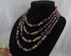 Stunning Vintage Glass Bead Four Strand Amethyst and Yellow Glass Bead and Rhinestone Necklace – Lovely