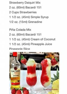 The Miami Vice Cocktails Cocktails For Parties, Party Drinks Alcohol, Liquor Drinks, Alcohol Drink Recipes, Summer Drinks, Cocktail Drinks, Alcoholic Party Drinks, Alcohol Bar, Bourbon Drinks