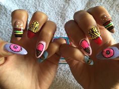 We did this junkfood nail art for California based babe, Jena Frumes. Burgers, fries, ice cream and donuts... we like her style!