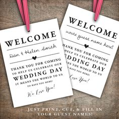 INSTANT DOWNLOAD Printable Wedding Welcome Bag Tags, Labels, Hotel Welcome Bags, Destination Welcome Bags, Thank You Tags
