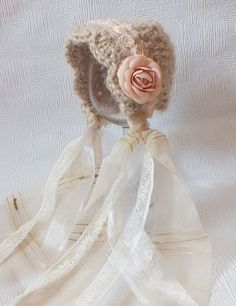 Obsessed with tiny bonnets! Newborn Hat Baby Bonnet Photo Prop Beige Tan by kirinati on Etsy,