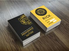 rick lacapria is a tattoo artist working out of providence tattoo he he was in need for some business cards so we created these sleek dual purpose - Tattoo Artist Business Cards