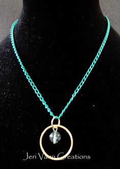 Teal Chain Necklace with Gold Hoop and Teal Bead