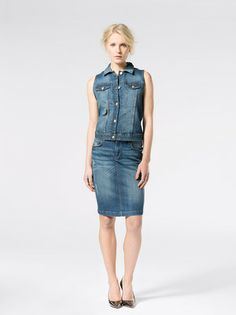 Denim inspired look Denim Skirt, Vest, Inspired, Skirts, Jackets, Inspiration, Style, Fashion, Biblical Inspiration