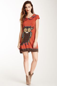 Owl Printed Dress. Would be cute with brown leggings and boots!