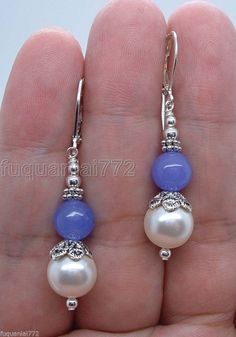 Handmade Dangle White South Seashell Pearls W. Lavender Jade SS Earrings