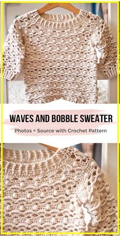 crochet Waves and Bobble Sweater pattern - easy crochet sweater pattern for begi. crochet Waves and Bobble Sweater pattern - easy crochet sweater pattern for beginners T-shirt Au Crochet, Pull Crochet, Mode Crochet, Crochet Shirt, Crochet Woman, Crochet Stitches, Bobble Crochet, Crochet Sweaters, Diy Crochet Clothes
